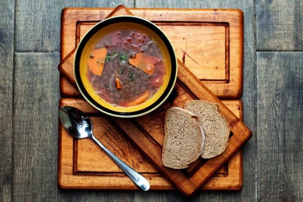 A rich lentil and tomato soup combined with red wine vinegar to give a fresh and tasty finish.