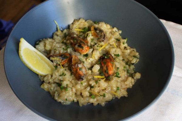 Fresh Mussels combined with a special risotto served with lemon wedges and dill.