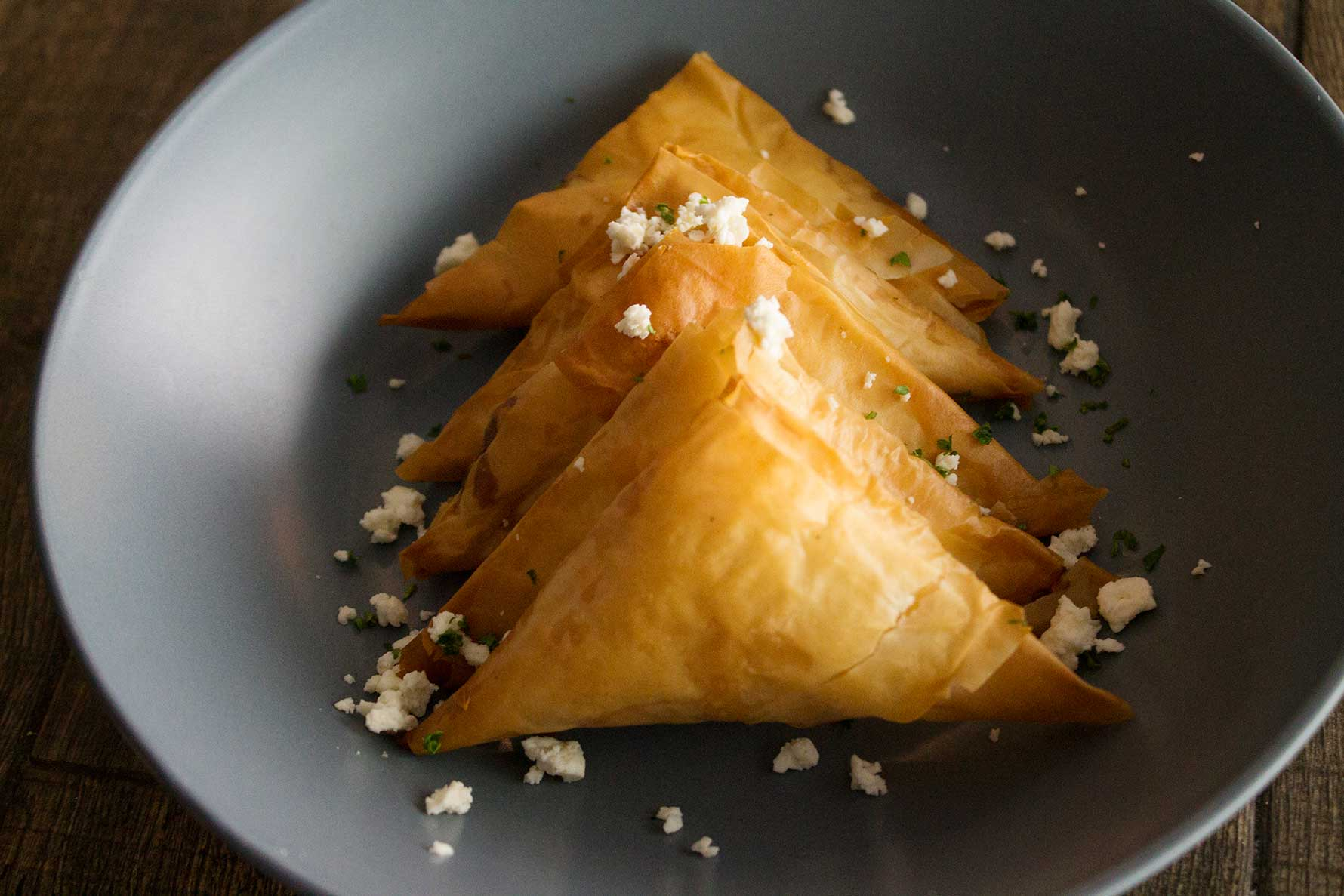 A combination of traditional cheeses encased in phyllo pastry.